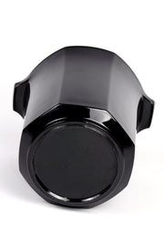 Octagon black glass ice bucket