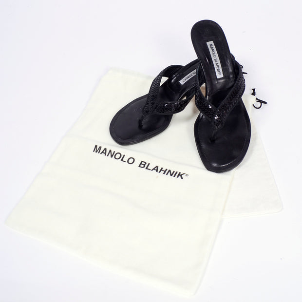 Manolo Blahnik black thong sandals