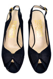 1980's Slingback Peep Toe Black Vintage Ferragamo Shoes