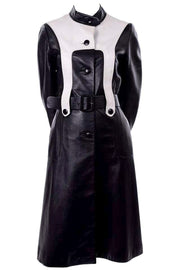 Mod black and white leather jacket with high neck