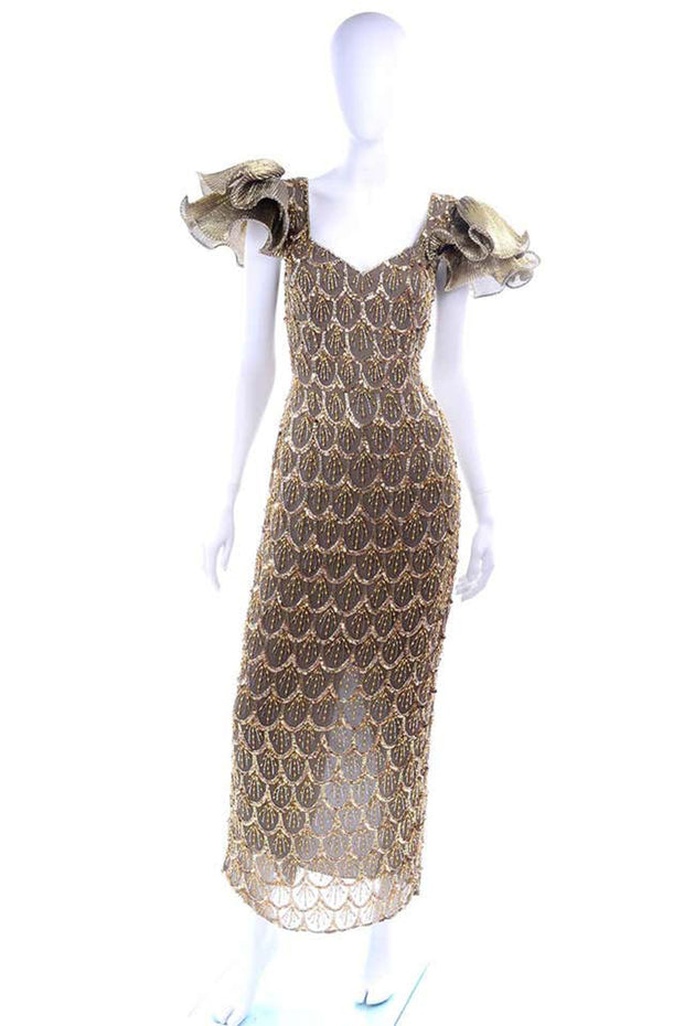 Black Tie Gold Beaded Evening Gown W Statement Fluter Sleeves
