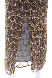 Black Tie Gold Beaded Evening Gown Dress W Statement Fluter Sleeves Silk 1980s