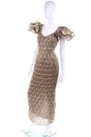 1980s Black Tie Gold Beaded Evening Gown Dress W Statement Fluter Sleeves
