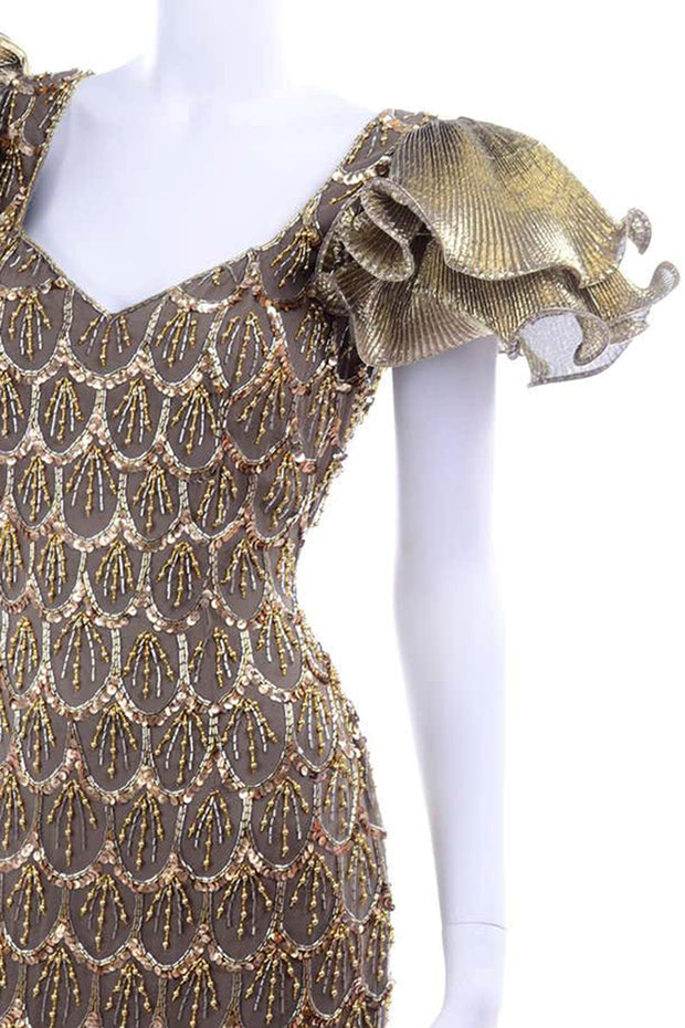Black Tie Gold Beaded Evening Gown Dress W Statement Fluter Sleeves 1980s Dress