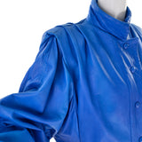 1980s Blue Lambskin Leather Avant Garde Skirt & Jacket - Dressing Vintage