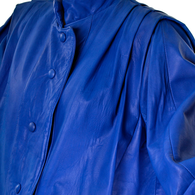 Blue lambskin vintage oversized leather jacket