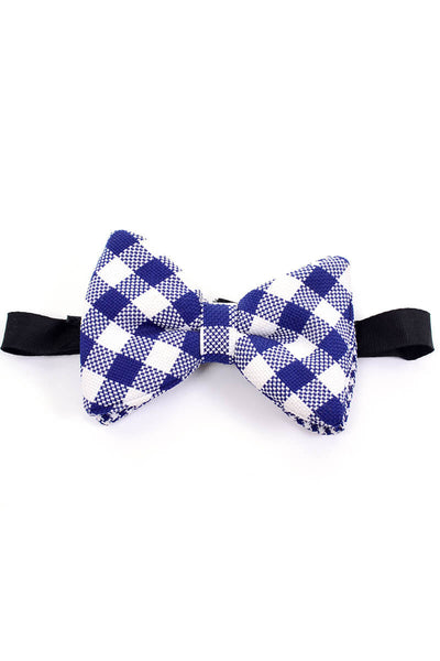 Vintage blue and white plaid oversized pre tied vintage bow tie