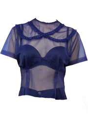 Sheer Blue Nylon Blouse from the 1950's - Dressing Vintage