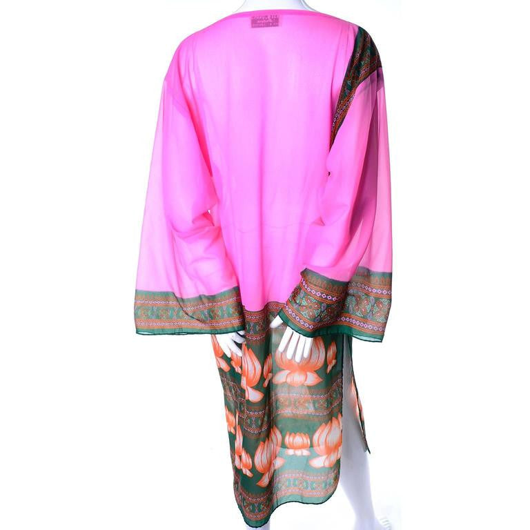 Bob Bugnand vintage water lily pink caftan tunic