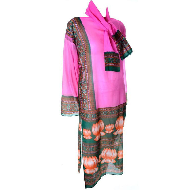 Bob Bugnand Indian pink and green vintage caftan tunic