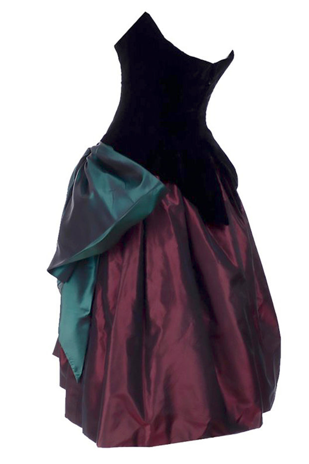 1980s Bob Mackie wine and green taffeta strapless corset evening dress 2