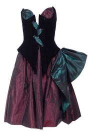 1980s Bob Mackie wine burgundy and green taffeta evening dress