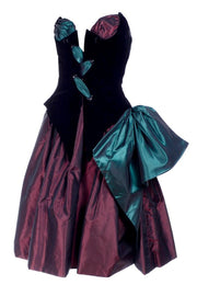 1980s Bob Mackie wine and green taffeta strapless corset evening dress