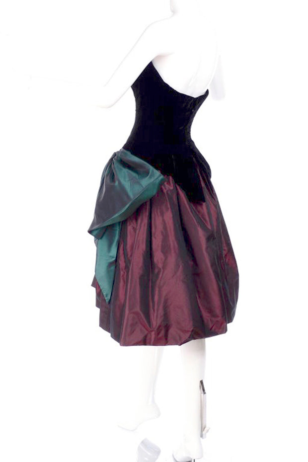1980s Bob Mackie taffeta and velvet full skirt strapless corset evening dress