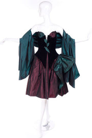 1980s Bob Mackie irridescent taffeta and velvet strapless dress