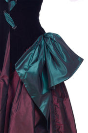 1980s Bob Mackie Strapless Corset Dress & Wrap Green & Burgundy Velvet & Taffeta