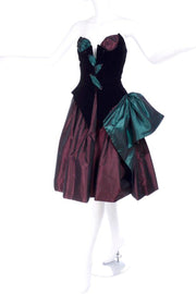 1980s Bob Mackie wine and green taffeta and velvet strapless corset evening dress