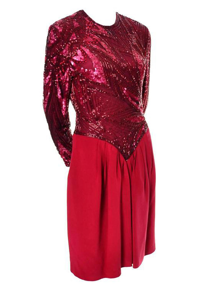 1980s Bob Mackie Red Beaded Vintage Dress