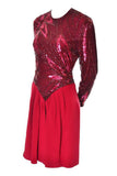 1980s Bob Mackie Red Silk Crepe Beaded Vintage Dress