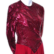 1980s Bob Mackie Boutique Red Beaded Vintage Dress