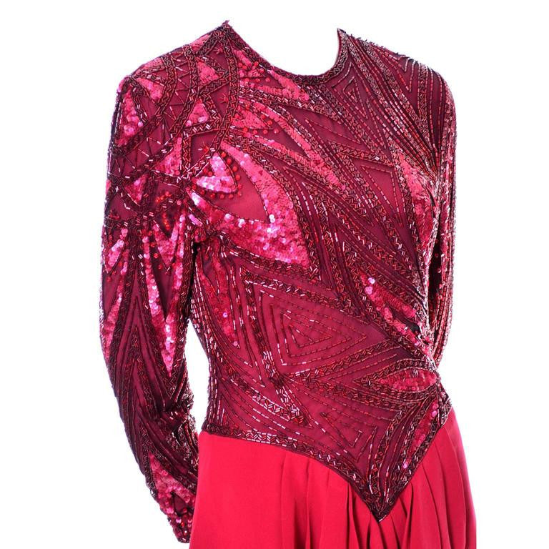 1980s Bob Mackie Boutique Vintage Red Beaded Dress
