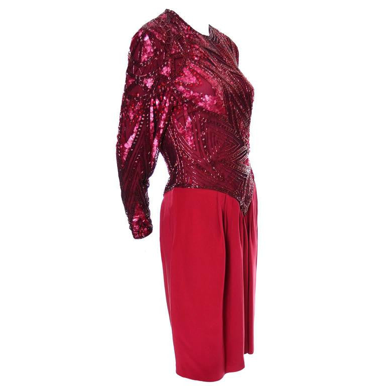 1980s Bob Mackie Red Silk Beaded Vintage Dress