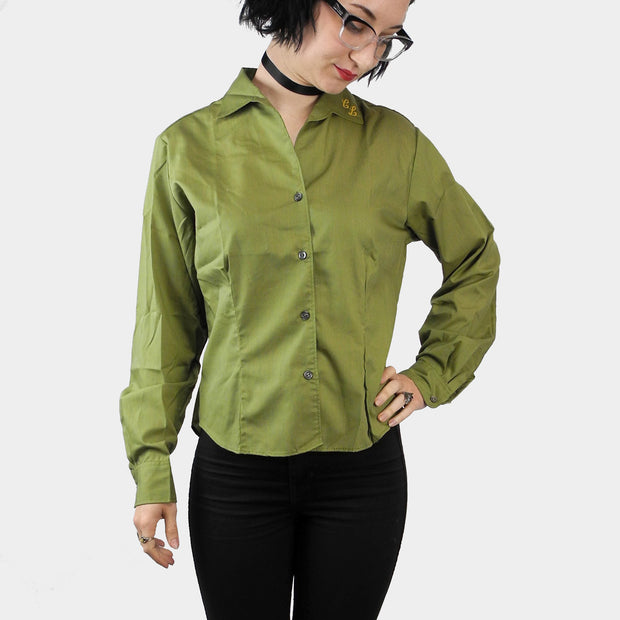 "Bobby James Monogrammed Green Blouse with Initials ""CL"" - Dressing Vintage"