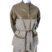 1960s Bonnie Cashin Vintage Leather Tweed Skirt Jacket Suit