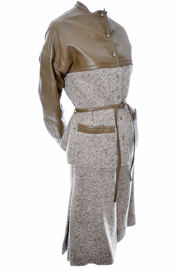 Bonnie Cashin Vintage Leather Tweed Skirt Jacket Suit