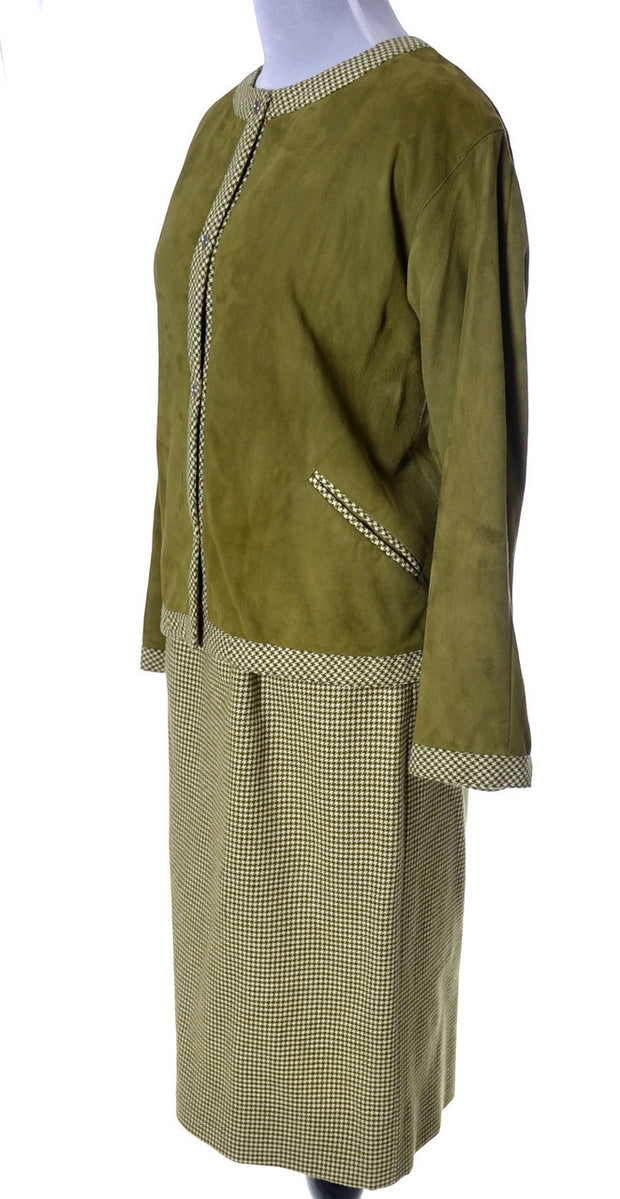 1960's Bonnie Cashin Sills Two Piece Vintage Skirt Suit Wool and Suede - Dressing Vintage