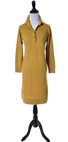 Bonnie Cashin Mustard Yellow Cashmere Vintage Dress - Dressing Vintage