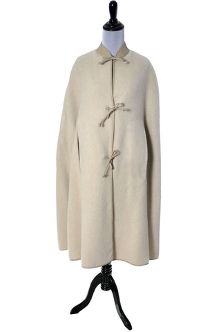 Bonnie Cashin Sills Cream Mohair Leather Vintage Cape Saks Fifth Avenue - Dressing Vintage