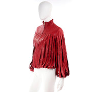 Unique Bottega Veneta Red Leather Jacket with Fringe Panels