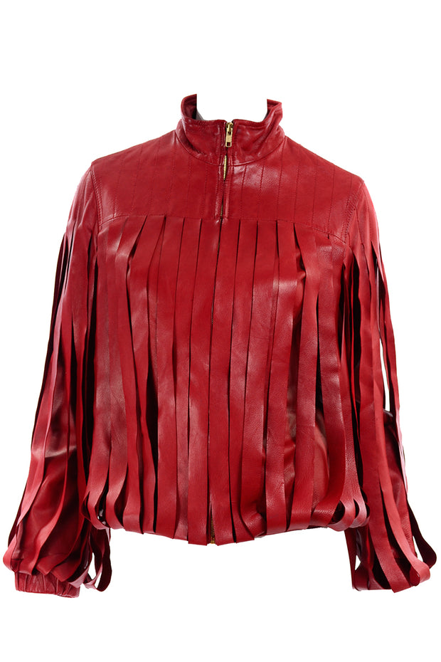 Bottega Veneta Red Leather Jacket Fringe