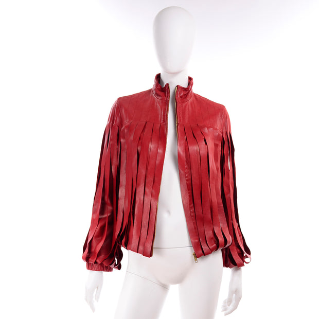 Bottega Veneta Burgundy Red Leather Jacket w High collar