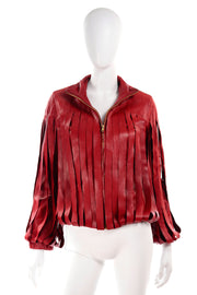 Red Fringe Leather Jacket by Bottega Veneta