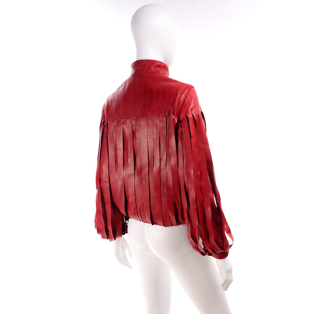 Bottega Veneta Red Leather Jacket w Attached Fringe Panels