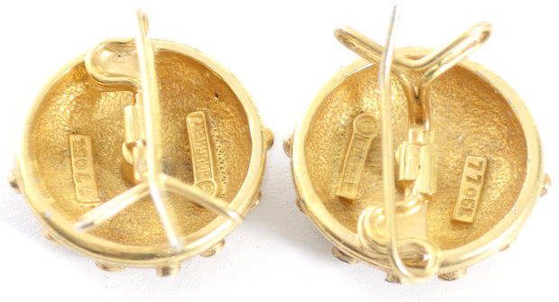 Gold Tone Marcel Boucher signed pierced vintage earrings - Dressing Vintage