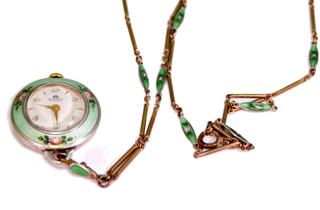 rare green bucherer vintage enamel watch pendant necklace