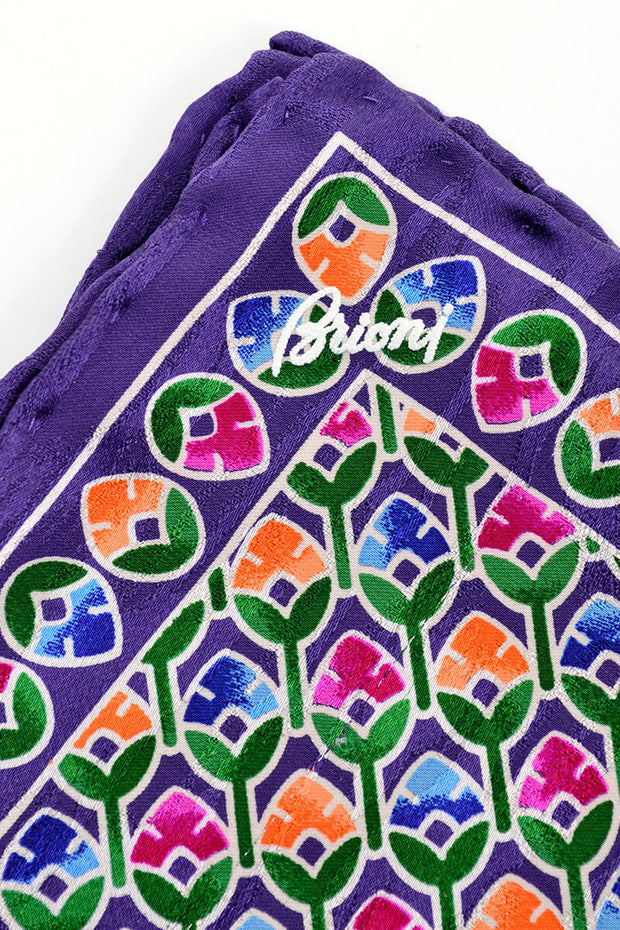 Hand rolled purple silk Brioni Pocket square