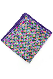 Floral Silk Purple Brioni Vintage Pocket Square