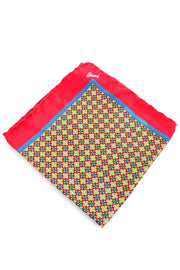 Brioni colorful red yellow blue geometric pocket square scarf