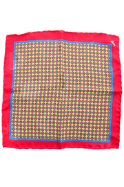 Hand Rolled Brioni Red & Yellow Abstract Silk Pocket Square - Dressing Vintage