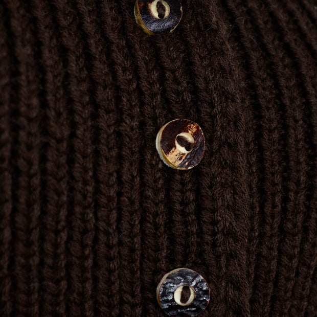 Vintage Handknit Brown Wool Cardigan Bubble Sweater Wood Buttons