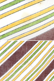1970s Brown, Green & Yellow Striped Square Cotton Scarf