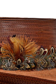 Pheasant Feather Patricia Underwood Brown Leather Hat