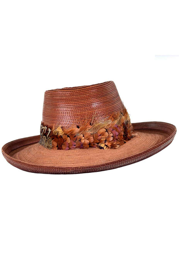 Vintage Patricia Underwood Brown Leather Hat with Feather Trim