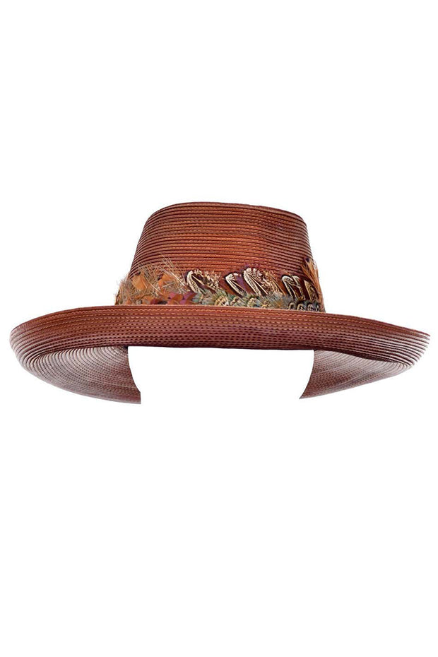Vintage Patricia Underwood Brown Leather Hat with Feather Trim Unique