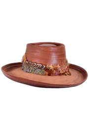 Vintage Patricia Underwood Brown Leather Hat with Feather Trim Topstitching