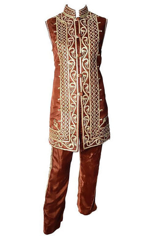 1960s Vintage Brown Velvet Pashtun with Gold Embroidery and Mandarin Collar